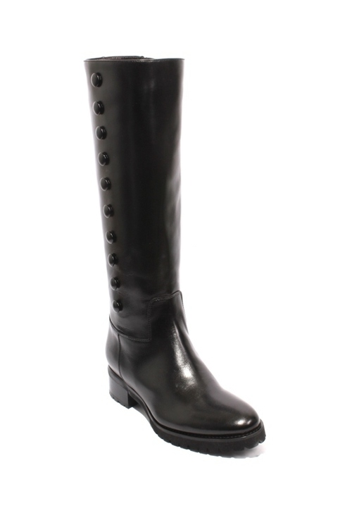 Black Leather Stretch Zip Knee High Heel Boots