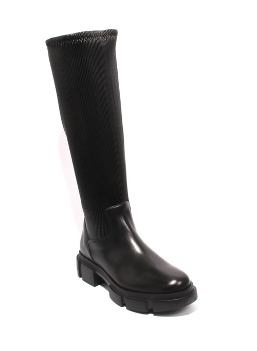 Black Leather Stretch Zip Up Knee High Boots