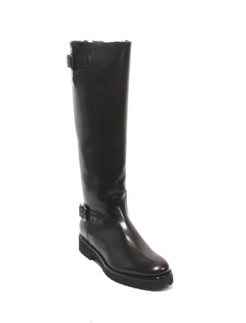 Black Leather Sheepskin Knee High Buckles Boots