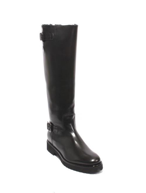 Black Leather Sheepskin Knee High Buckles Boots