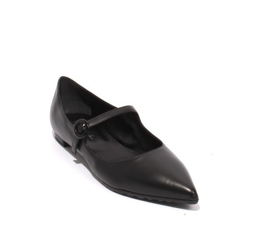 Black Leather Buckle Pointy Flat Classic Shoes