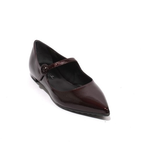 Burgundy Patent Leather Buckle Pointy Flat Shoe