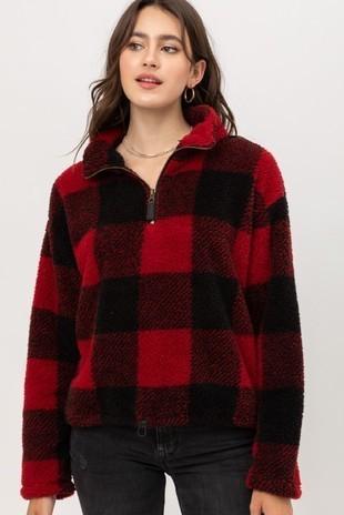 Buffalo Plaid Half Zip Pullover