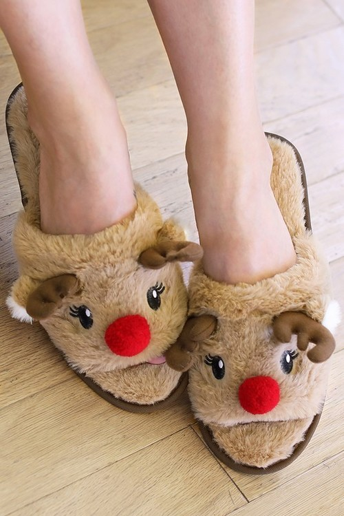 Reindeer Open Toe Slippers