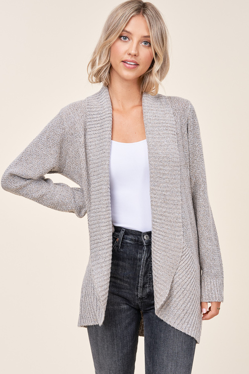 Cocoon Open Front Waffle Cardigan