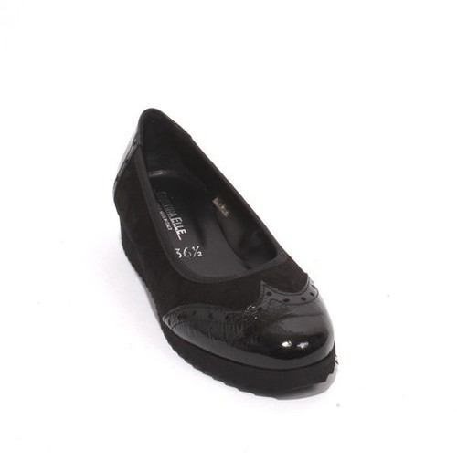Black Suede Patent Leather Comfort Wedge Shoe