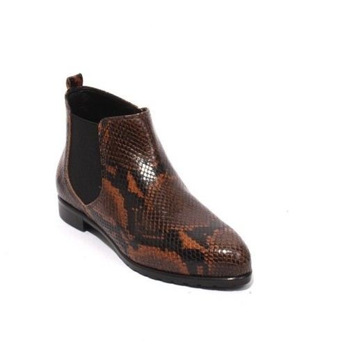 Multicolor Leather Snake Print Zip Ankle Boot