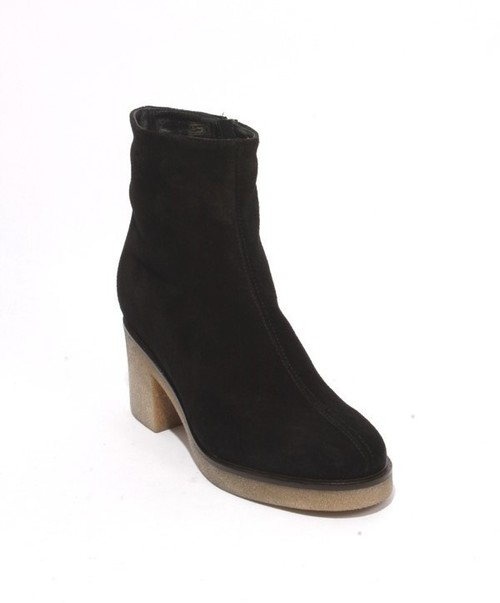 Black Suede / Fleece Zip Up Ankle Heel Boots