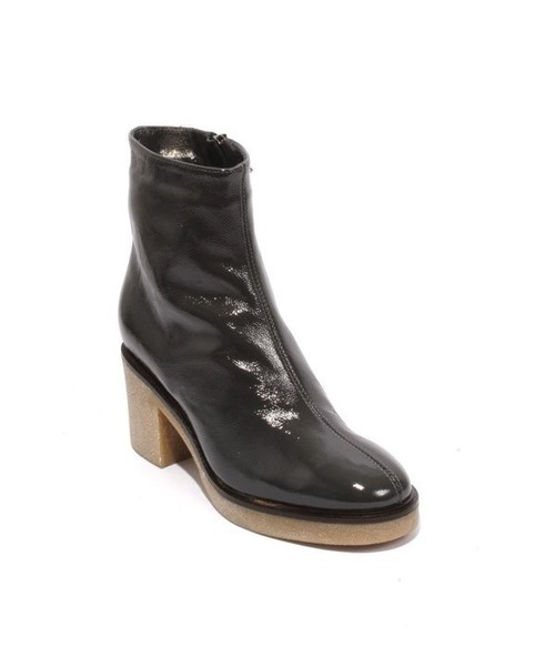 Gray Patent Leather Fleece Zip Ankle Heel Boot