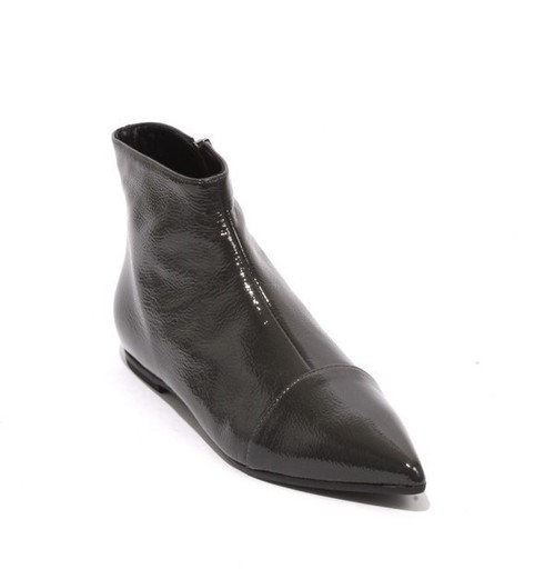 Gray Patent Leather Zip Pointy Ankle Flat Boot