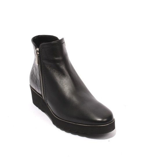 Black Leather Fleece Zip Up Wedge Ankle Boots