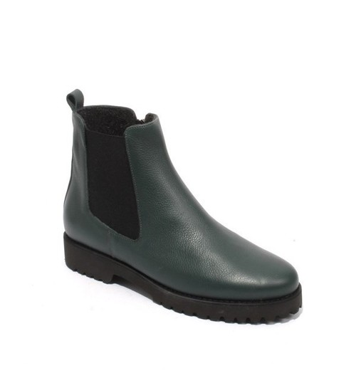 Green Leather / Fleece Elastic Zip Ankle Boots