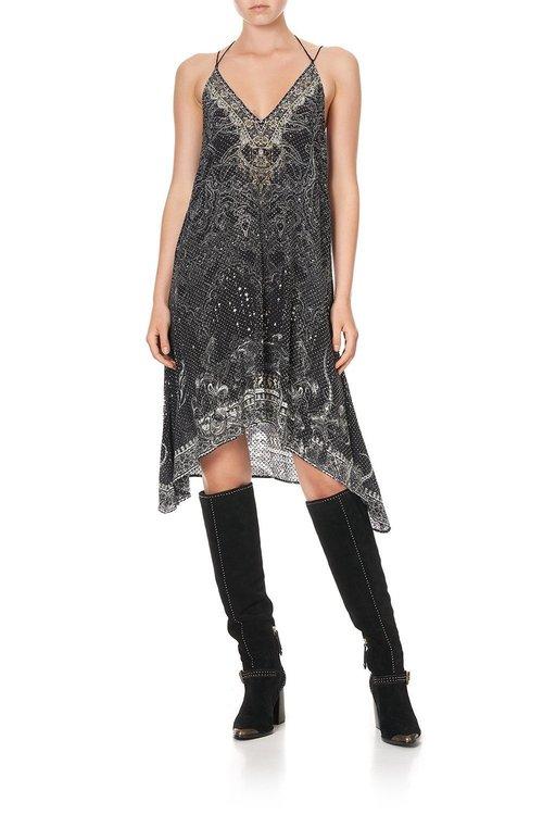 V-neck Strappy Flare Dress