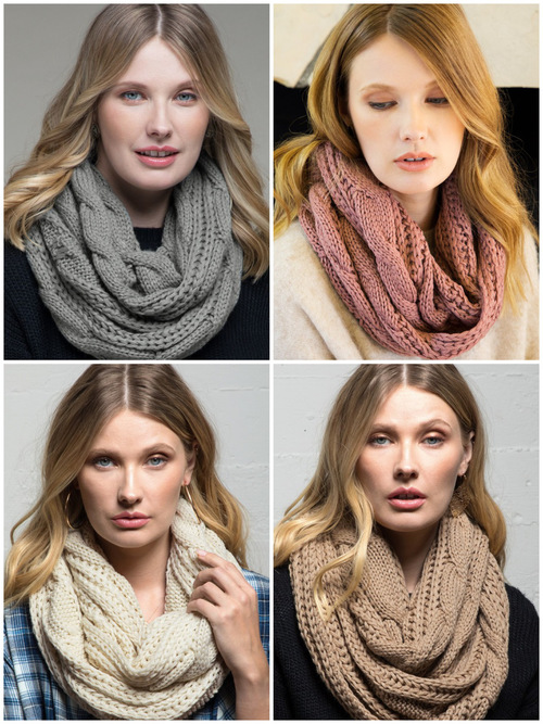 Cozy Cable Knit Pattern Infinity Scarf