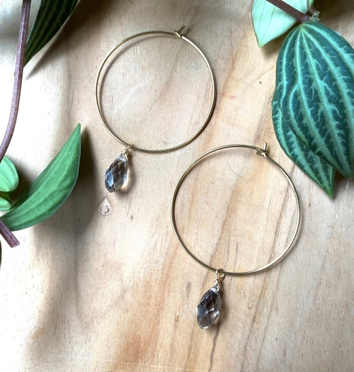 Brass Hoops With Gemstones