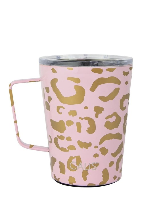 Caus Coffee Tumbler w/Handle Leopard HT