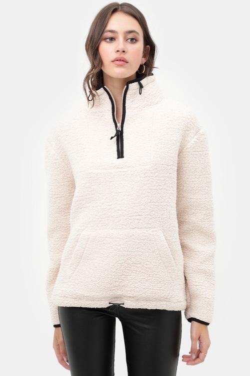 Cozy Half Zip Sherpa Vanilla