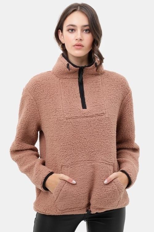 Cozy Half Zip Sherpa Mocha