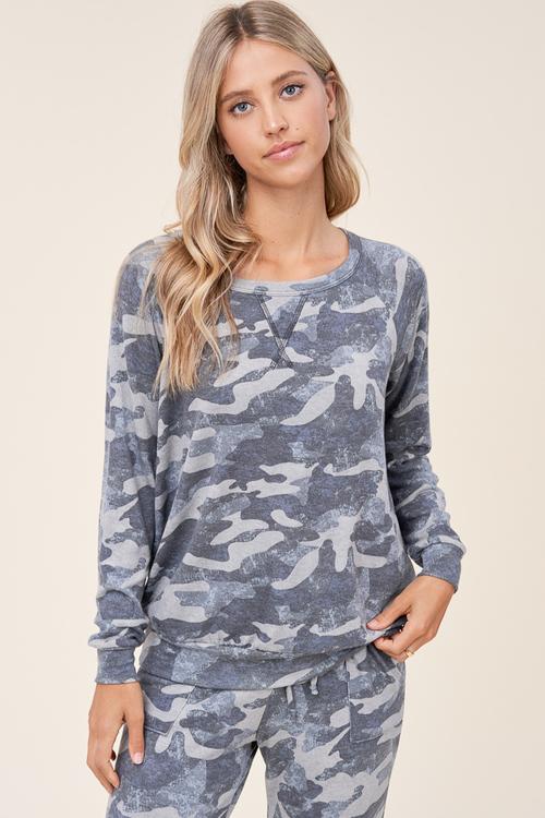 Camo Print Round Neck Raglan Top Grey