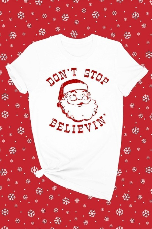 Believe In Santa Graphic Tee White
