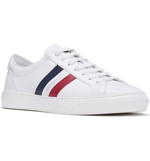 Mens White NEW Monaco Leather Lace-Up Low-Top Sneakers
