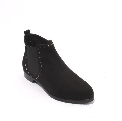 Black Suede Elastic Zip Pointed Toe Ankle Boot