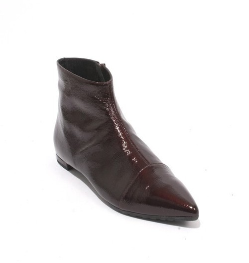 Burgundy Patent Leather Zip Pointy Ankle Boots
