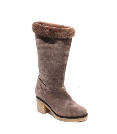 Gray Suede Sheepskin Fur Mid-Calf Heel Boots