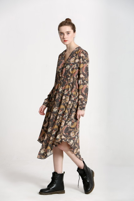 Abstract Floral Print Long Sleeve Dress