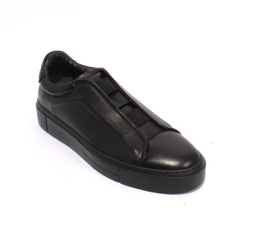 Black Leather Elastic Pull On Fashion Sneakers Shoes