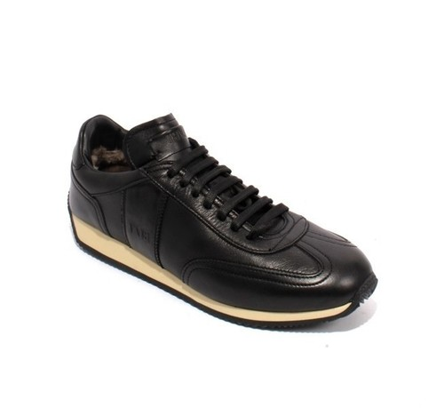 Black Leather Sheepskin Lace-Up Fashion Sneakers Shoes
