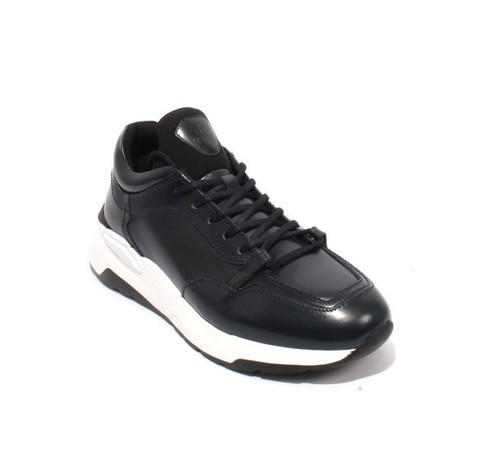 Navy White Leather Lace-Up Fashion Sneakers Shoes