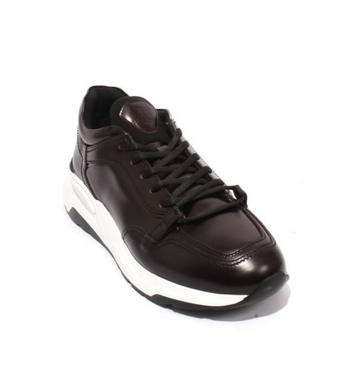Burgundy White Leather Lace-Up Fashion Sneakers Shoes