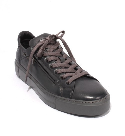 Gray Leather Lace-Up Zip-Up Fashion Sneakers Shoes