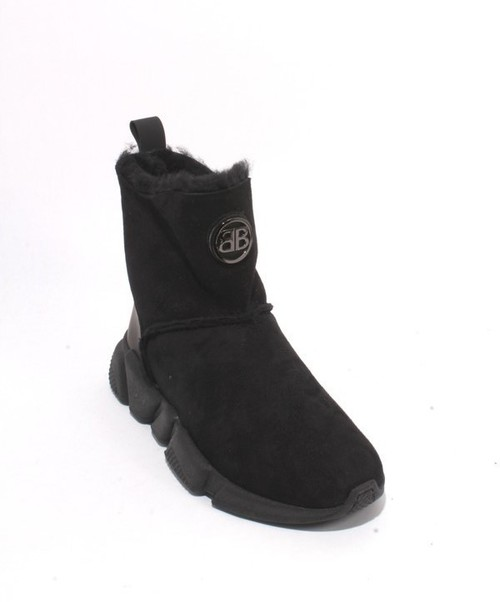 Black Suede Sheepskin Fur Ankle Boots