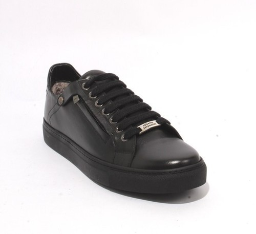 Black Leather Sheepskin Lace Zip-Up Sneakers