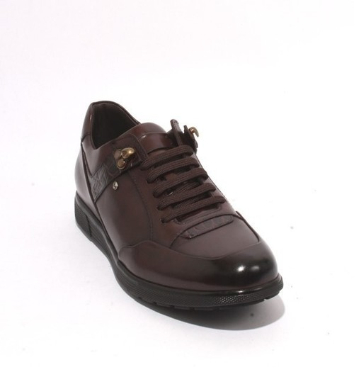 Brown Leather Lace Fashion Sneakers Shoes