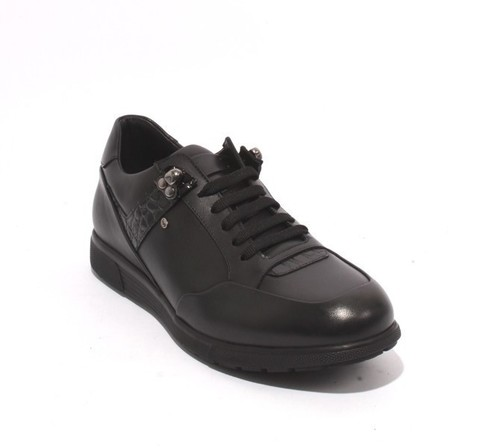 Black Leather Lace-Up Fashion Sneakers Shoes