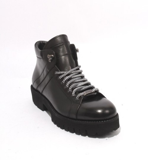 Black Leather Fleece Lace-Up Ankle Boots