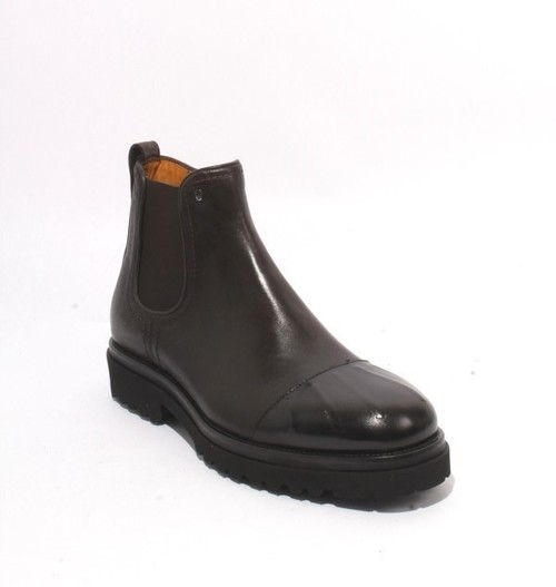 Brown Black Leather Elastic Zip Ankle Boots