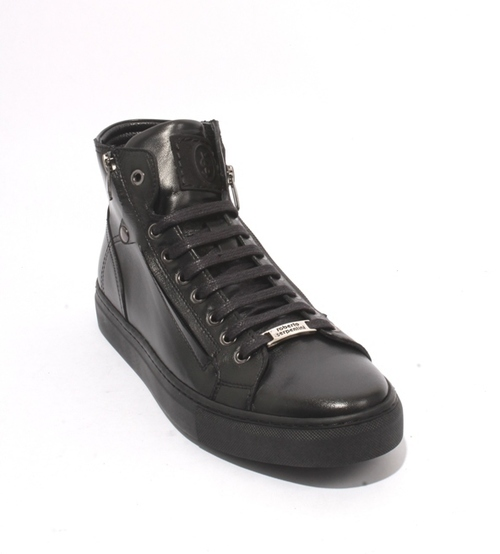 Black Leather Lace Zip Fashion Sneakers Boots
