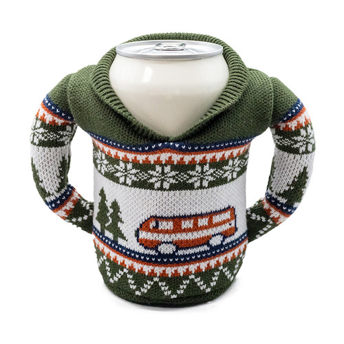 Green Camping Beverage Sweater