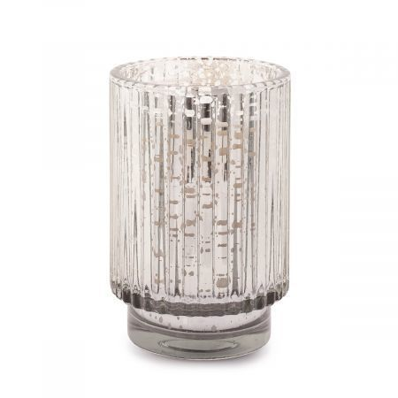 Silver 12 oz Mercury Tall Ribbed Glass