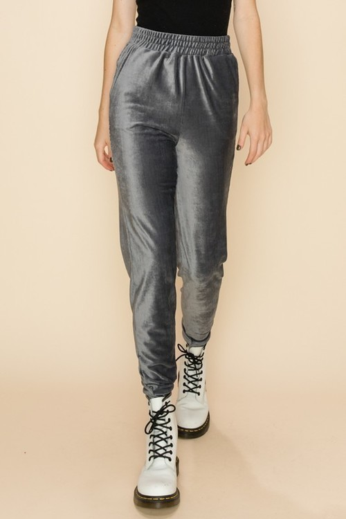 Velour Joggers w/ Pockets Charcoal