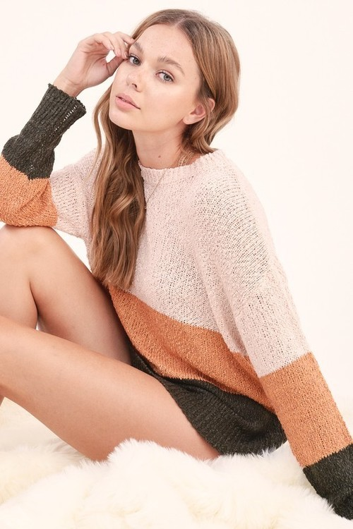 Trendy Colorblock Sweater Olive