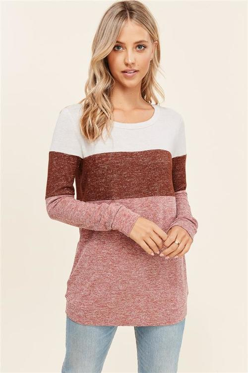 Brushed Hacci Rust Pullover