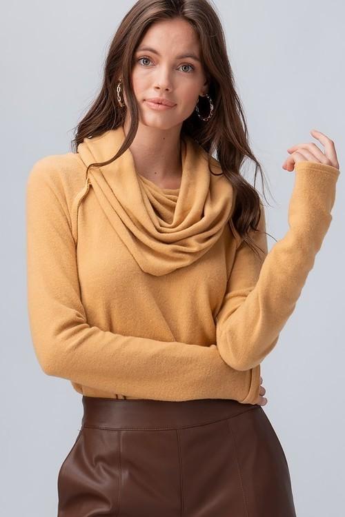 Brushed Knit Solid Cowl Neck Top Camel
