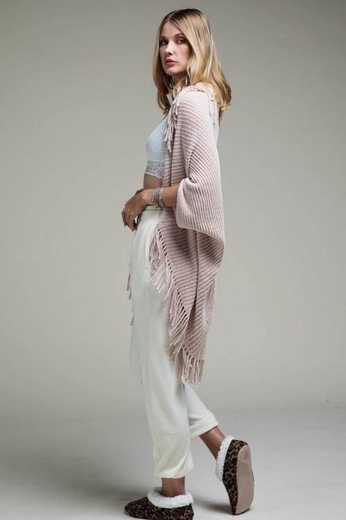 Plush Luxury Chenille Cardigan With Fringe Blush O/S