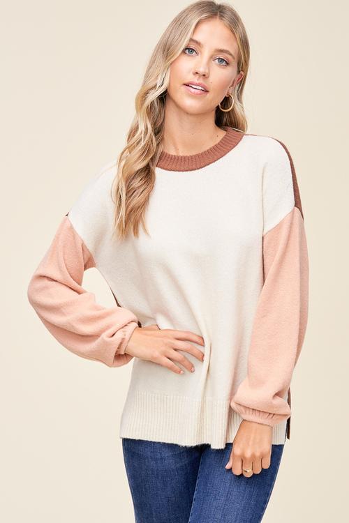 Oatmeal & Peach Colorblock Sweater