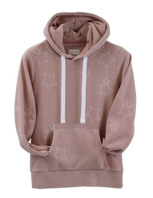 Burn Out Fleece Pullover W/ Star Embroidery Mauve Pink